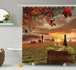 Ambesonne Winery Decor Collection, White Wine with Barrel on