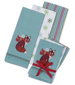 Winter Woodland Fox Embroidered 3 piece Towel Set by Kay Dee