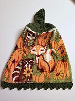 Woodland Animals Crochet Top Hanging Kitchen Towel with Deco
