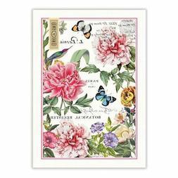 Michel Design Works Cotton Kitchen Tea Towel Peony Floral Bu