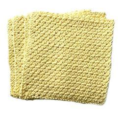 Yellow Crochet Cotton Dishcloth Washcloth Set of 3