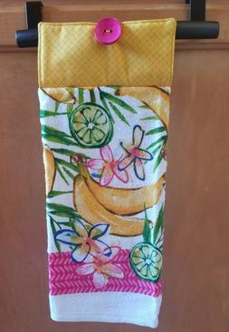 Yellow Multi Print Hanging Kitchen Towel with Loop 100% Cott