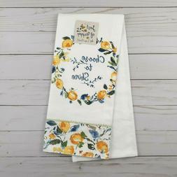 Zest of Happy Choose to Shine Yellow Lemon Kitchen Tea Towel