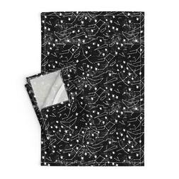 Zodiac Sky Constellation Black Linen Cotton Tea Towels by Ro